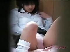 Japanese girl alone at home 12 - teen nearly caught by other family member - Voyeur hidden spycam