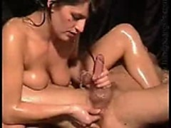 oiled handjob