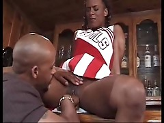 Beautiful Ebony Cheerleader Gets Pussy Eaten