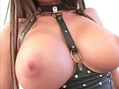 Dominatrix in latex forces slave to booty banging