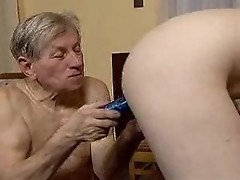 Old paedophile delights tight holes of young slut