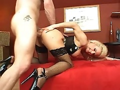 hot hairy blonde gets it good!