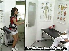 Horny doctor eats teens pussy