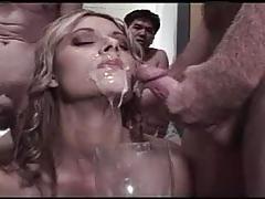 Bukkake cum drinking swallowing queen