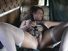 Older slut legs spread masturbating for all
