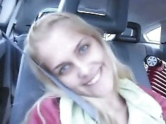 Amateur girl Sasha having fun in car
