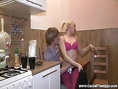Amateur Teenagers Have Fun In The Kitchen