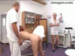 Gyno Exam of milky girl by Doctor and nurse