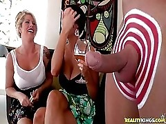 Kinky MILFs Have Fun With Shaved Cock