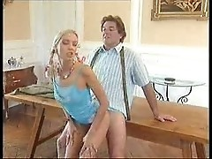 Old man fucks young girl on the desk