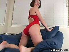 Allie strips her red bikini