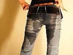 Super hot Janine pissing her jeans
