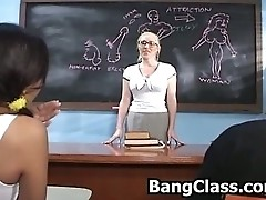 Two students ending up in threesome with the teacher