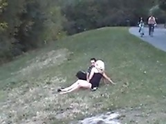 An amateur couple is making love somewhere in the countryside!