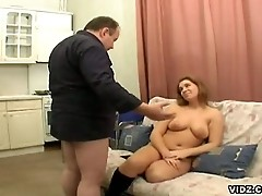 Chubby slut get it down and dirty with old man