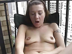 Masturbating on the balcony