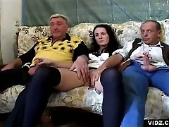 Wild crazy brunette nymph pampers two old wrinkled men