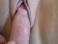 Fucking her shaved pussy