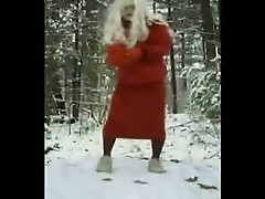 Crossdresser strip in the snow part 1