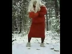 Crossdresser strip in the snow part 1