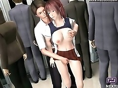 Animated cutie gets fucked in the train