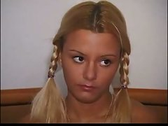 Blonde teen with braids in anal fuck