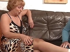Sprained Ankle Granny Sprains a Cock