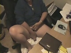 My mom masturbating at computer caught by hidden cam