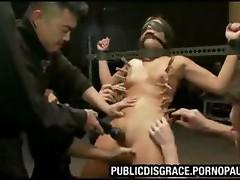 Girl tied up for bondage gangbang