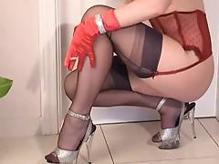 Smoking Redhead In Gloves & Stockings