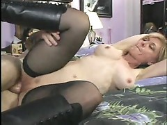 Mature chick Nina Hartley fucked on the floor