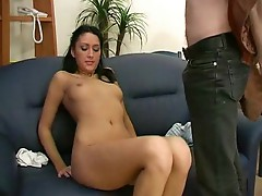 Hot Russian babe with brunette hairs & hairy pussy