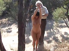 Outdoor bondage of horny slut who love bandage sex