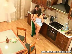 Young guys try sexual experiments in the kitchen