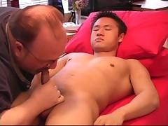 Asian gay having blowjob from straight man