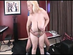 Fat mature blond takes off strings and dicked doggy