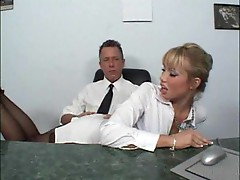 Blondie takes dick of a manager in her shaved twat