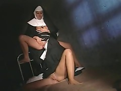 nun rubs one out