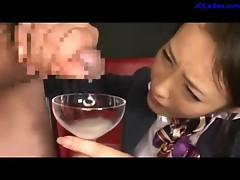 Office Lady Holding Glass Guys Jerking To It Drinking All On The Floor