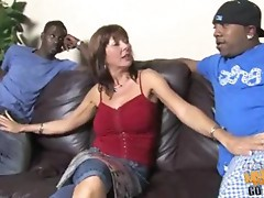 Desi Foxx gets nailed by two huge cocked brothas