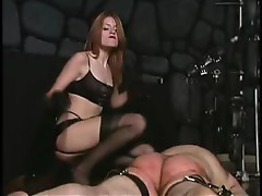 Extreme milf dominatrix whipping her slave