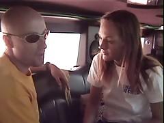 Girls suck unknow in Limousine