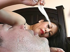 Mistress sasha treats pet with another man's cum