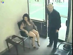 Couple fucking and sucking in waiting room