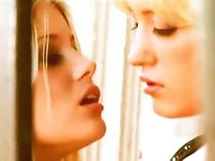 Eye bounded kissing lesbian blonde