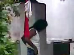Indian neighbor bhabhi changing dress outside after shower