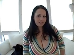 Teen fatty is proud about her huge tits and gives bj