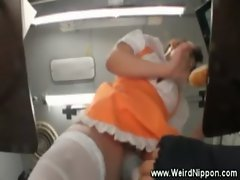 Asian food servant getting wet and fingered