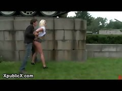 Bound blonde milf fucked outdoor in the Europe