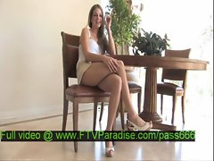 Monica tender hot blonde babe on a chair talking